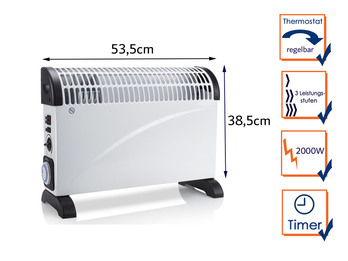 Turbo Elektroheizung (Konvektor) mit Thermostat & Timer, Raumheizung 2000Watt