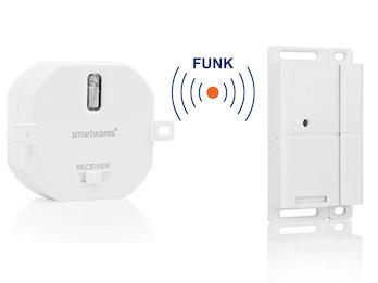 SmartHome Funk Abluftsteuerung: Funk-Einbauschalter + Fenster Magnetkontakt