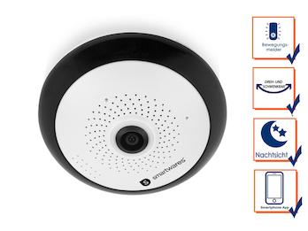 Indoor IP Kamera 360° mit Nachtsicht & Mikrophon, HD-Auflösung, Appsteuerung