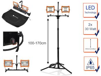 LED Profi Baustrahler mit Stativ, 2x 30 Watt Arbeitscheinwerfer höhenverstellbar