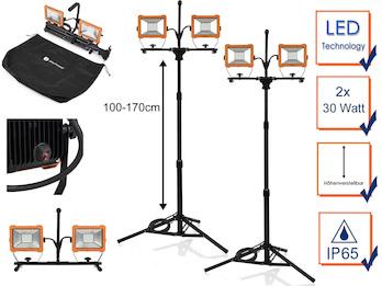 2er Set LED Profi Baustrahler mit Stativ, Arbeitscheinwerfer höhenverstellbar