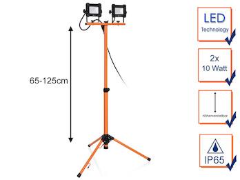 LED Baustrahler mit Stativ, 2x 10 Watt Arbeitscheinwerfer höhenverstellbar