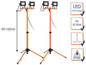 2er Set LED Baustrahler mit Stativ, 20 Watt Arbeitscheinwerfer höhenverstellbar