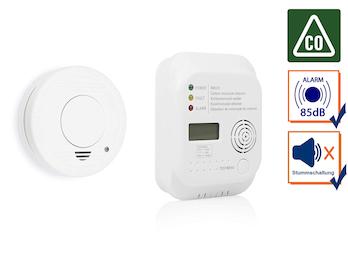 Brandschutzset: Rauchwarnmelder und Kohlenmonoxid Melder mit lautem 85dB Alarm