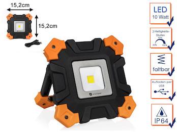 Klappbarer LED Baustrahler 10 Watt mit Akku & USB Kabel - 3 Helligkeitsstufen