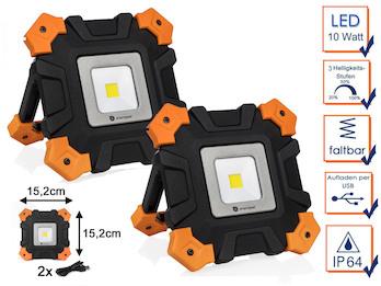Klappbares & dimmbares LED Baustrahlerset mit Akku, Arbeitsscheinwerfer je  10W
