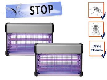 2er Set Insektenvernichter Stechmückenfallen mit UV Licht, Bereich je 80m²