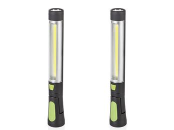 2er Set schwenkbare LED Arbeitsleuchten grün mit Taschenlampe, Magnet & Haken