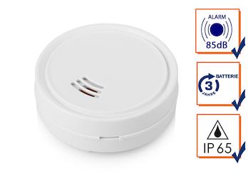 Mini Wassermelder Ø 6,3cm mit lautem 85dB Alarm, Schutz vor Wasserschäden