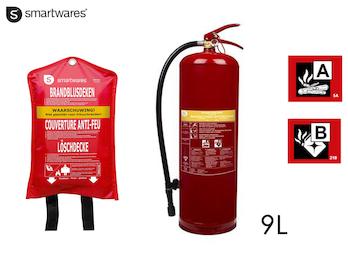 SET: Großer Feuerlöscher / Schaumlöscher 9L, Brandklasse A, B + Löschdecke