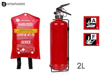 SET: Handlicher Feuerlöscher/Fettbrandlöscher 2L, Brandklasse A, F + Löschdecke