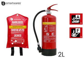 Handlicher Feuerlöscher / Fettbrandlöscher 6L, Brandklasse A, F + Löschdecke