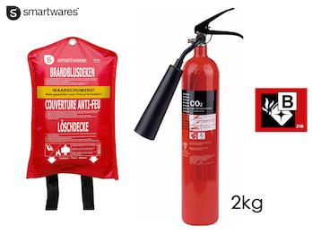 SET: Handlicher CO2-Feuerlöscher 2kg, Brandklasse B + Löschdecke