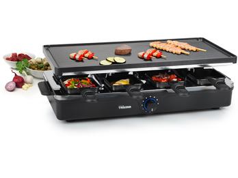 Raclette für 8 Personen, antihaftbeschichtet, 2 Grillplatten, 1400 Watt