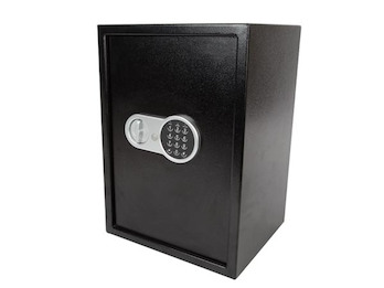 Elektronischer Safe Aktentresor schwarz mit Zahlencode, 2 Fächer, 35x31x50cm