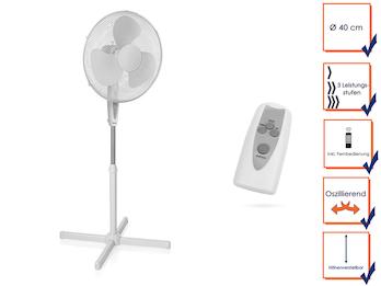 Oszillierender Standventilator mit Fernbedienung, Timer & 3 Leistungsstufen
