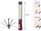 Schwenkbare LED Arbeitsleuchte orange mit Taschenlampe, Magnet & Haken
