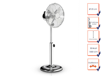 Standventilator Ø 25cm, höhenverstellbar, 30 Watt, 1300 U/min, Oszillierend