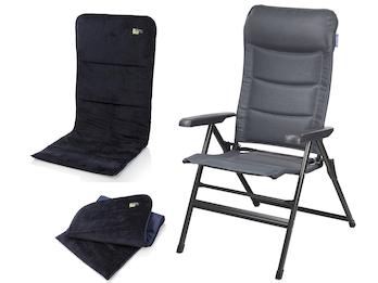 Campingstuhl / Liegestuhl + Sitzbezug, in 7 Positionen verstellbar, Anthrazit