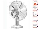 Edler Retro Tischventilator in Chrom, 3-stufig, Ø 30 cm, 1300 U/m, 35 Watt