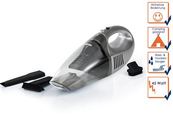 Naß/Trocken-Handstaubsauger, 45 Watt, mit Wandhalterung, campingtauglich