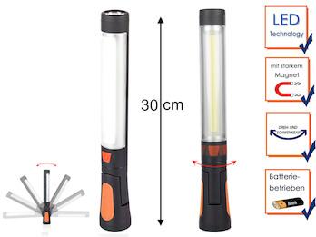 Batteriebetriebene LED Arbeitsleuchten im 2er SET mit Magneten und Aufhängung