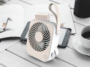 Wiederaufladbarer USB Mini Tischventilator Weiß / Cremefarben 2 Stufen 2W