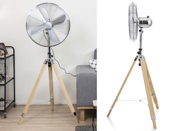 Standventilatoren mit Holzstativ, Schwenkfunktion & einstellbarer Höhe