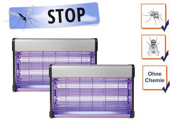 2er Set Insektenvernichter Stechmückenfallen mit UV Licht, Bereich je 100m²