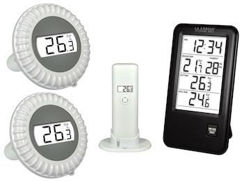 Pool Thermometer mit Uhrzeit, Innen-/ Außentemperatur, Hygro & Ersatz Sensor