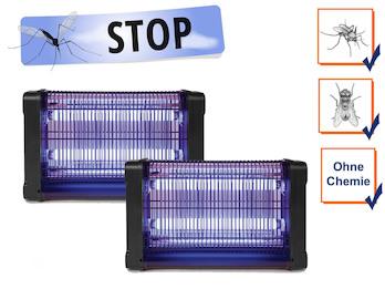 2er Set Insektenvernichter 360°, Stechmückenfallen mit UV Licht, Bereich je 80m²