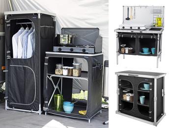 Stabile Campingküchen in Grau mit Windschutz und großen Staufächern