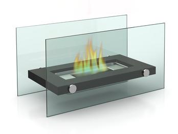 Design Tischkamin für Bio-Ethanol, Glaskamin ca. 34cm, inkl. Löschhilfe