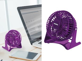 MINI Schreibtisch Ventilator 2er Set Purpur 14W - leise für Schlafzimmer & Büro