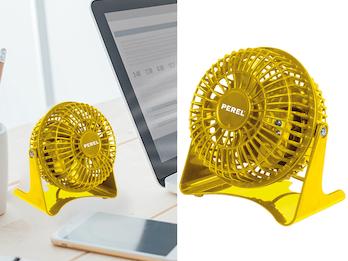 MINI Schreibtisch Ventilator 2er Set Gelb 14W - leise für Schlafzimmer & Büro