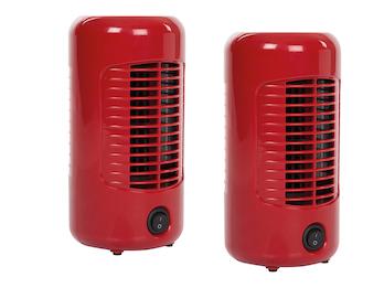 MINI Tischlüfter 2er Set Säulenventilator Rot 14W für Schlafzimmer & Büro