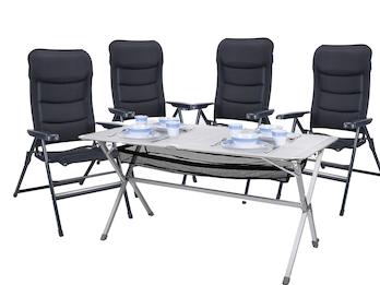Camping SET - Großer Alu Campingtisch - Rolltisch mit vier Komfort Hochlehnern