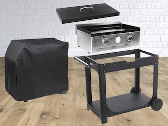BBQ Outdoor Grill SET: Gas-Backplatte + Deckel + Rollwagen + Wetterschutzhülle