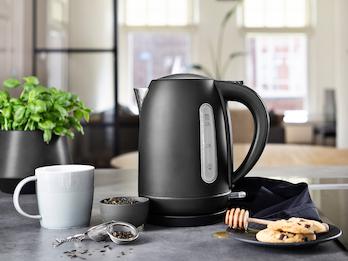 Design Wasserkocher aus Edelstahl in Schwarz 1,7l, 2200 Watt, 360° drehbar