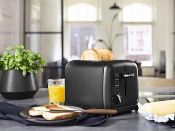 Kompakter Toaster Edelstahl in Schwarz matt - Aufwärm- und Auftaufunktion, 950W