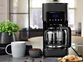 Edle Edelstahl Kaffeemaschine in Schwarz mit Timer - für 10 bis 15 Tassen
