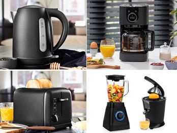 Design Edelstahl Frühstücksset Schwarz - Kaffeemaschine, Wasserkocher, Toaster