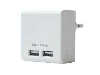 2-fach USB Ladeadapter zum Aufladen von Geräten wie Smartphone, Tablet etc.