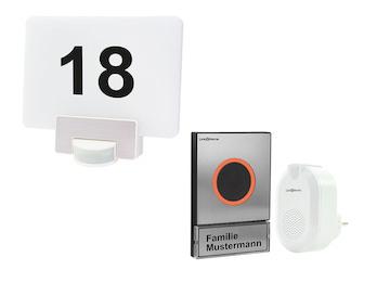 Funk Türklingelset Edelstahl + LED Hausnummernleuchte mit Bewegungsmelder, App