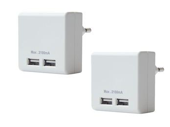 2er Set Dual USB Ladeadapter zum Aufladen von Handys, Smartphones, Tablets etc.