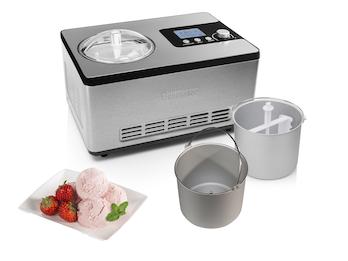 Kompressor Eismaschine selbstkühlend mit 2 Schüsseln für 2x 2 Liter leckeres Eis