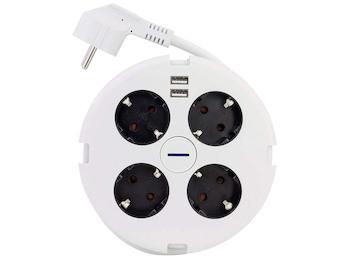 Steckdosenerweiterung 4 fach rund, Mehrfachsteckdose mit 2 USB Anschlüssen