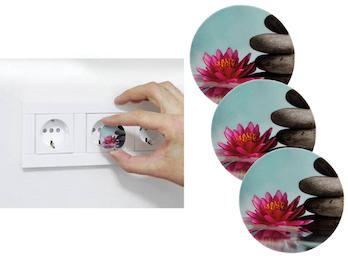 3er Set Steckdosen Schutzabdeckung Motiv Blume, Steckdosen Kindersicherung