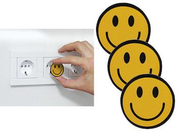 3er Set Steckdosen Schutzabdeckung Motiv Smiley, Steckdosen Kindersicherung