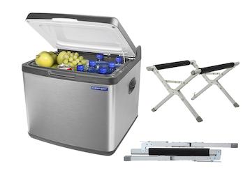 Große 42 Liter Hybrid Kühlbox auch als Gefrierfach nutzbar & klappbarem Ständer